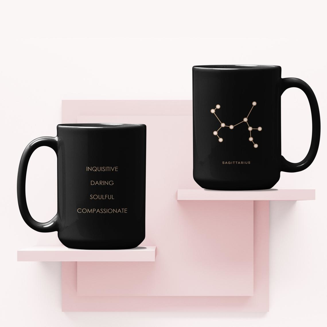 The front of the mug with the constellation and the back of the mug with the sign's key traits