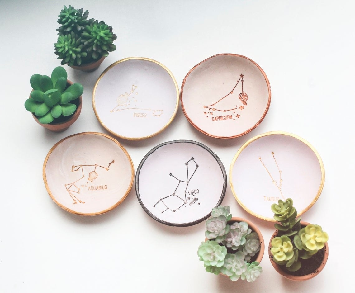 Five zodiac ring dishes surrounded by succulents