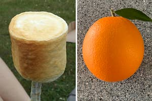 A perfectly toasted marshmallow and a perfectly round orange
