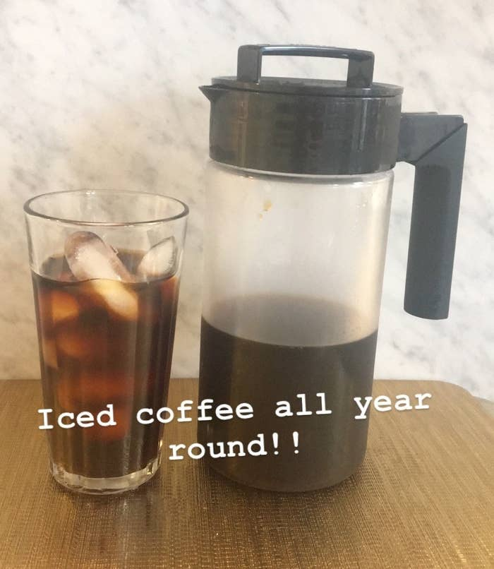 "BuzzFeed Shopping editor's picture of the coffee maker with caption ""cold brew all year long!"""