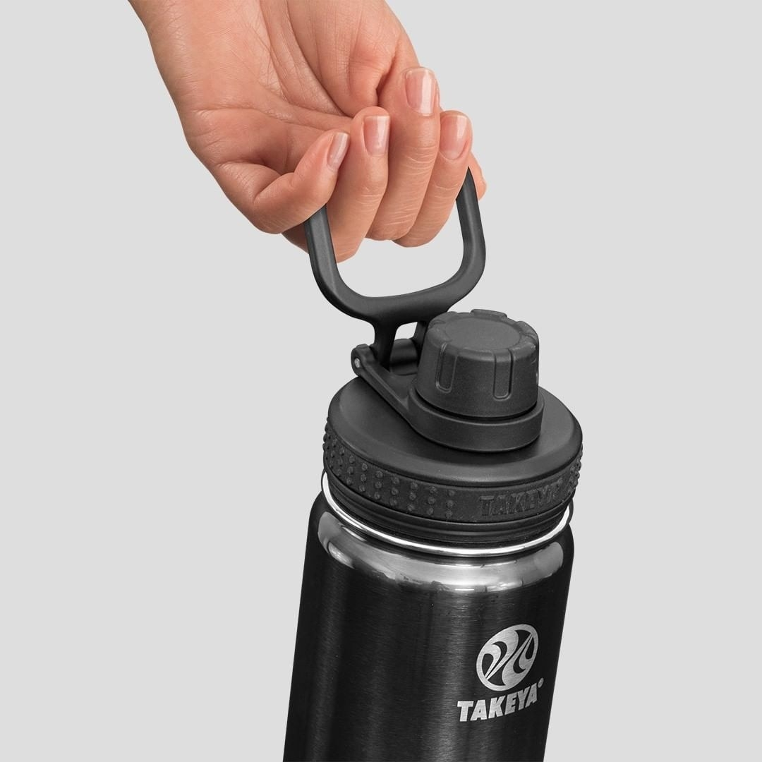 The stainless steel water bottle in black