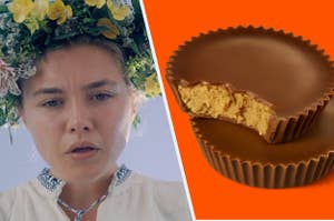 Dani from Midsommar on the left, and a peanut butter cup on the right