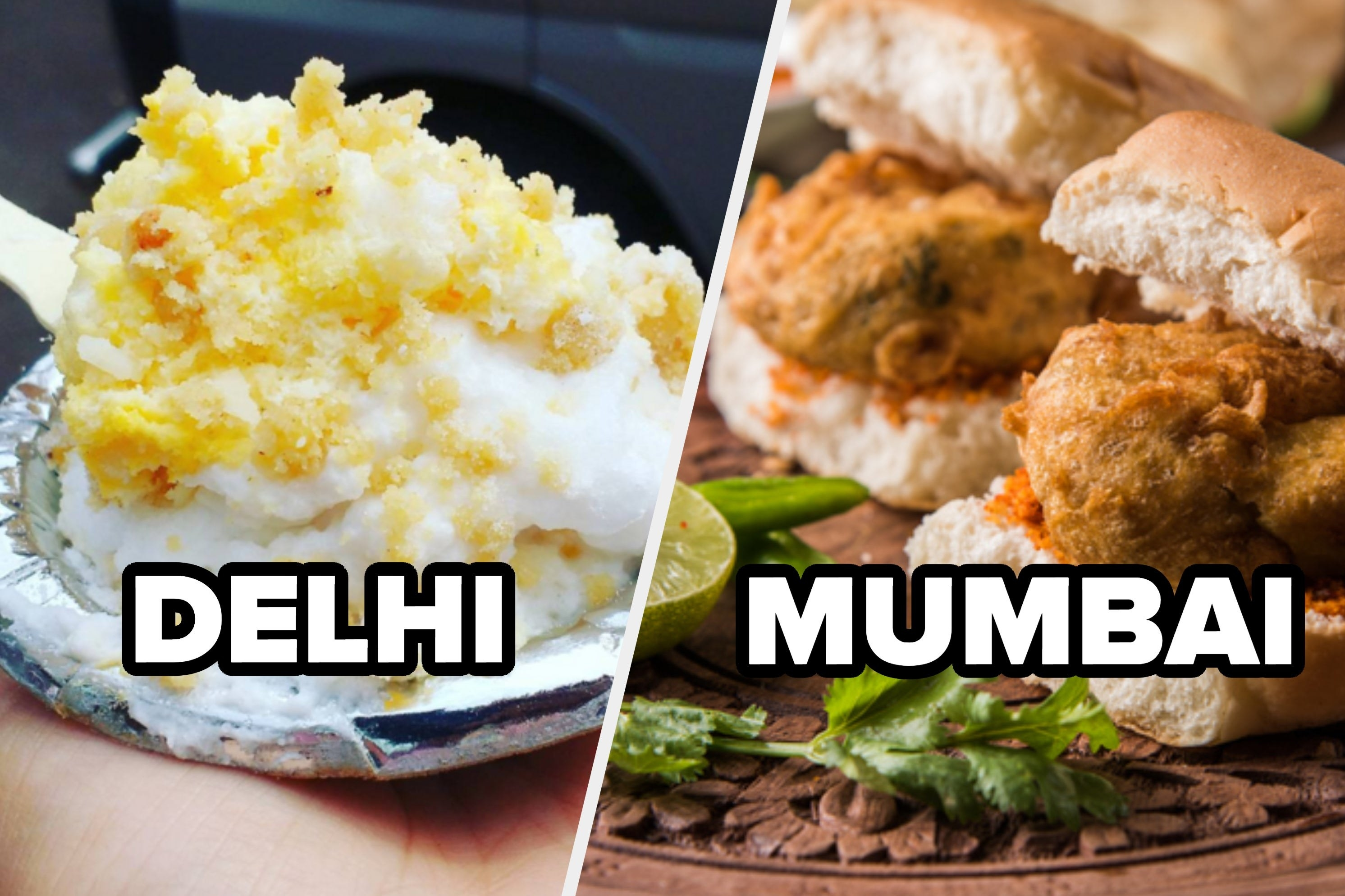 A collage of delhi's iconic daulat ki chaat and mumbai's vada pav