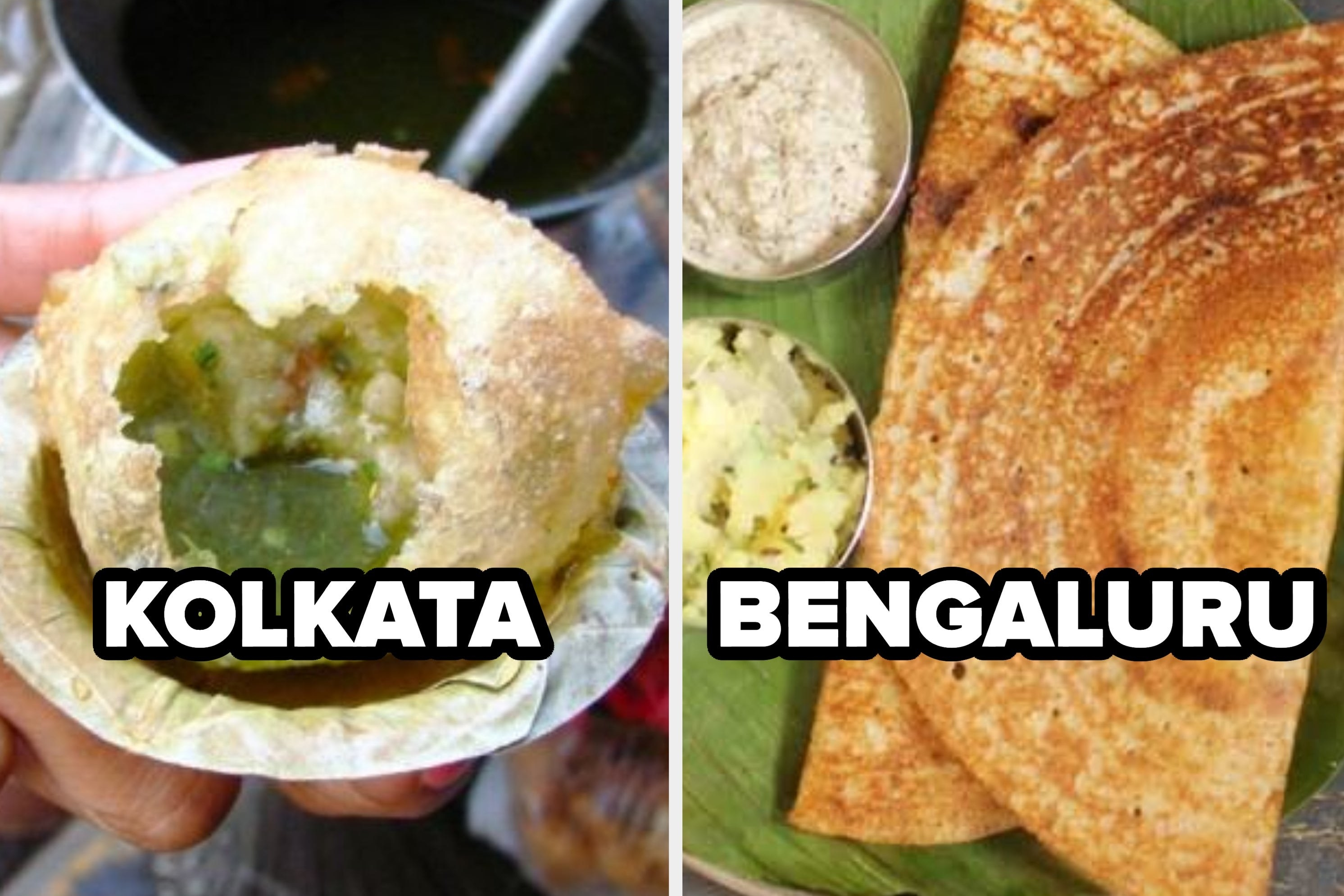 A collage of kolkata's phuchka and bengaluru's dosa
