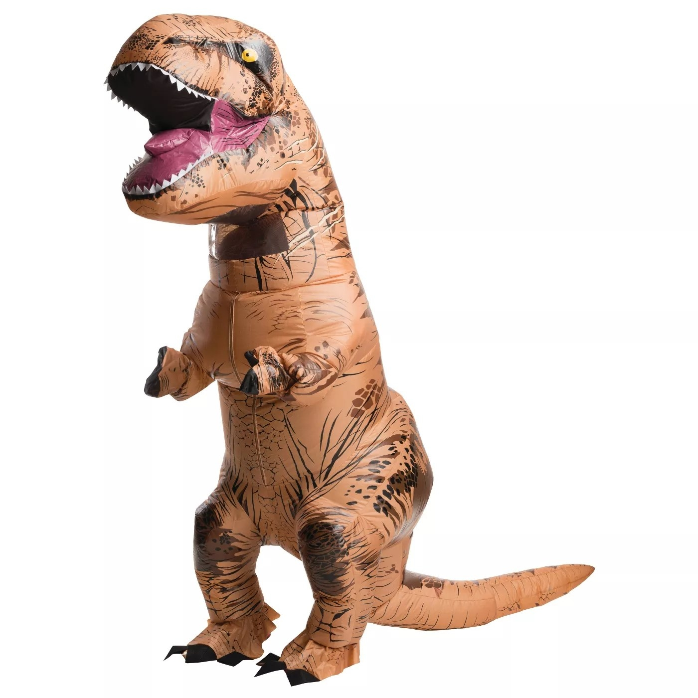 A model wearing an inflatable T-Rex costume