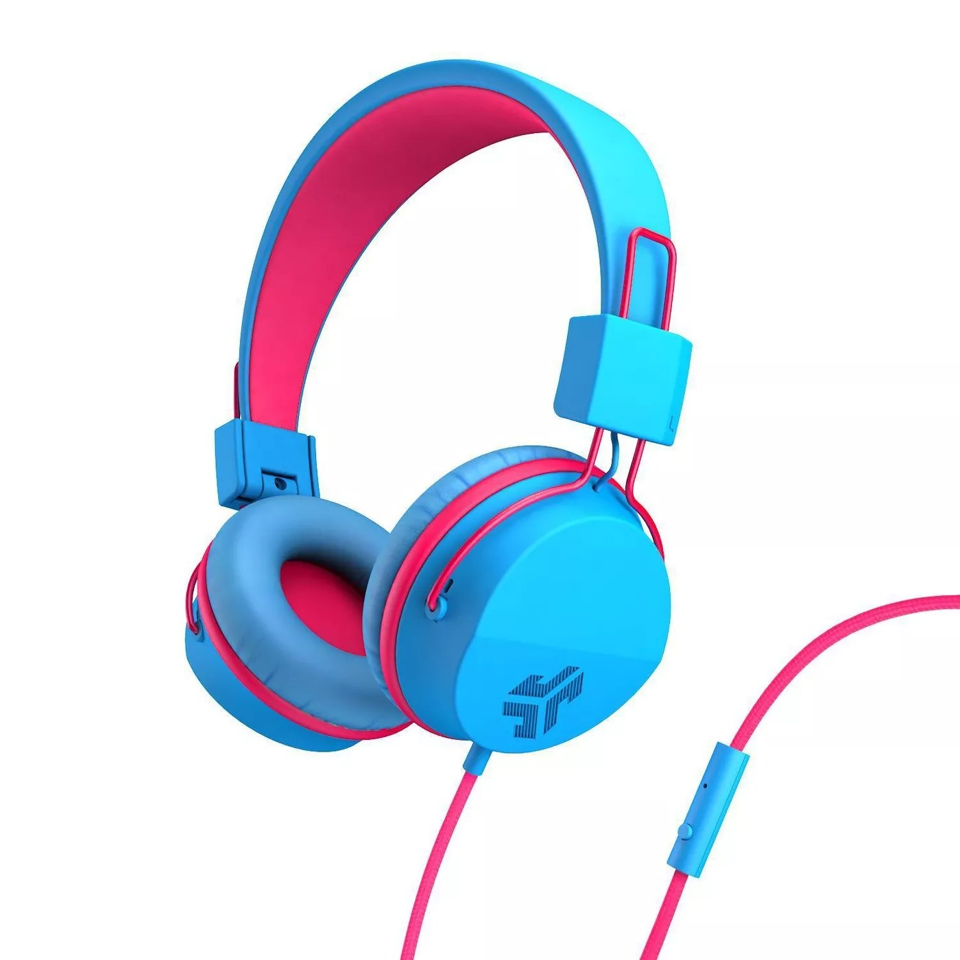A blue and pink pair of headphones with adjustable ears and a mic on the wire with track control