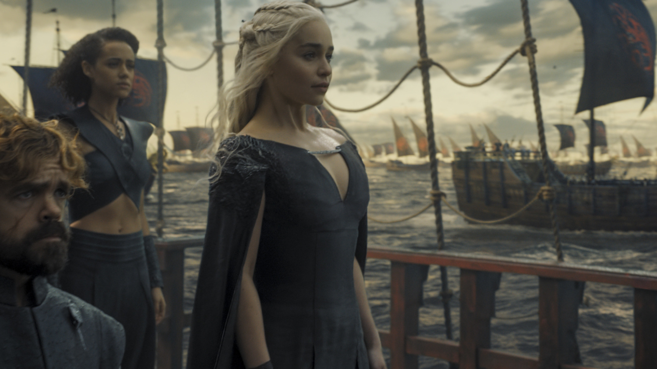 Still from Game Of Thrones: Daenerys looking out into the ocean along with Tyrion and Missandei
