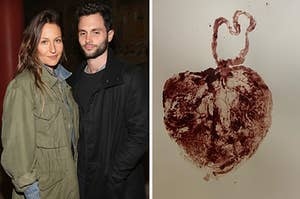Domino Kirke and Penn Badgley at a Hollywood event, placenta photo