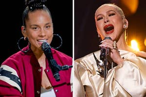Alicia Keys singing at a piano / Christina Aguilera performing