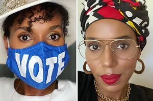 "Kerry Washington wearing a ""vote"" mask / Kerry wearing glasses and makeup"
