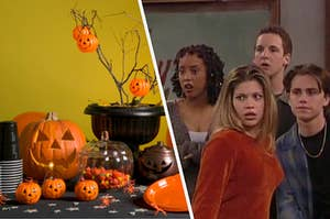 "A table full of Halloween decorations is on the left with the cast of ""Boy Meets World"" on the right"