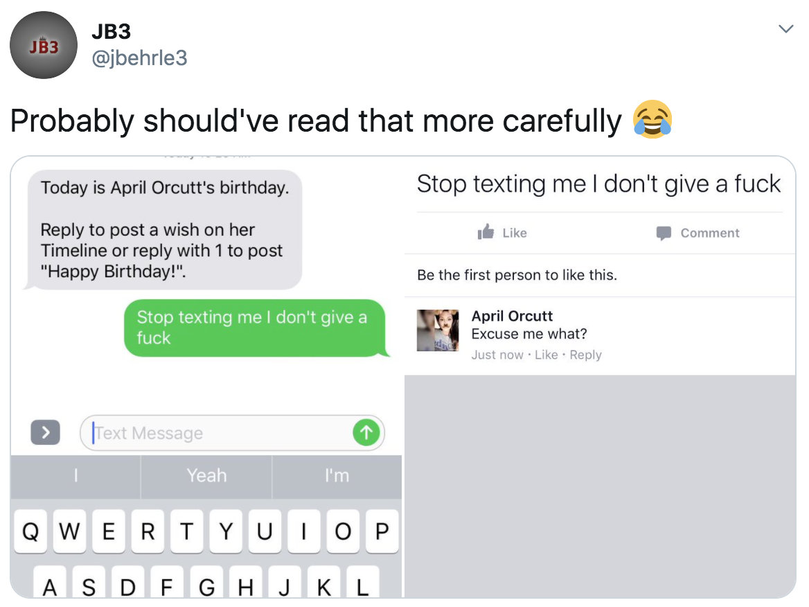 tweet of someone responding to an automated facebook message about birthdays with mean words and it posts on the person's facebook