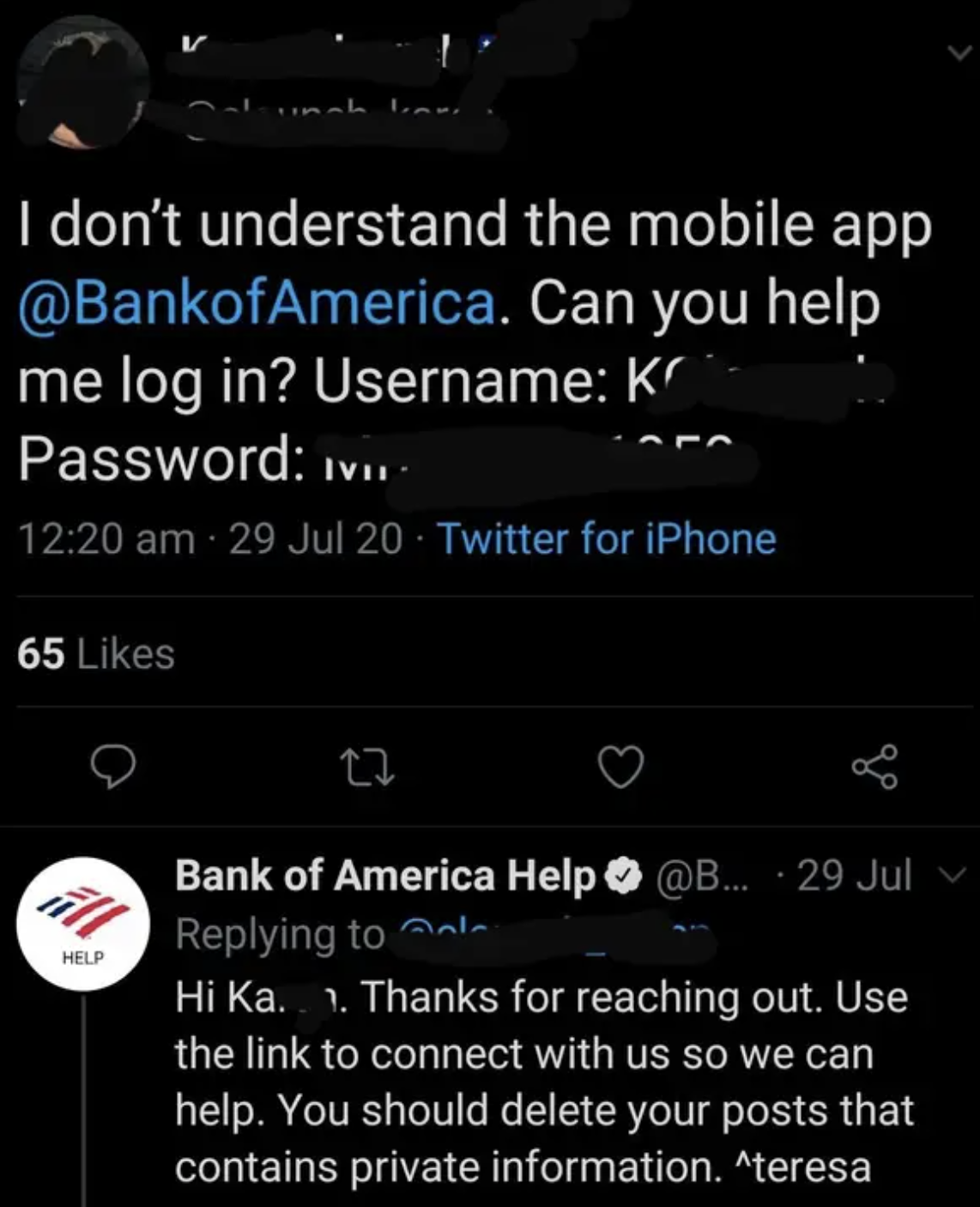 tweet of someone sending their password to a bank of america twitter account
