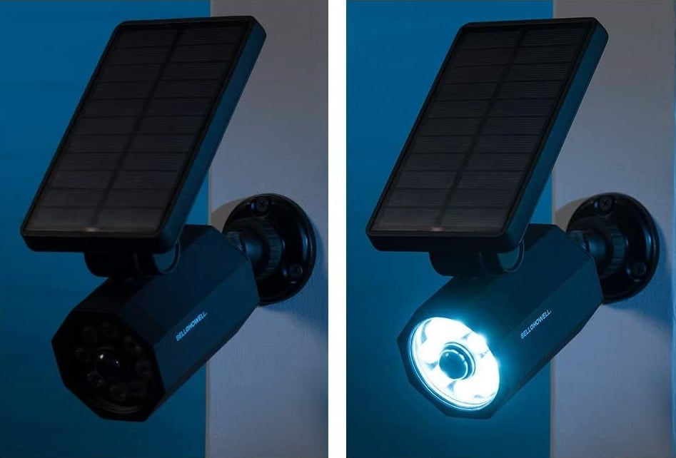 a solar powered spotlight on and off