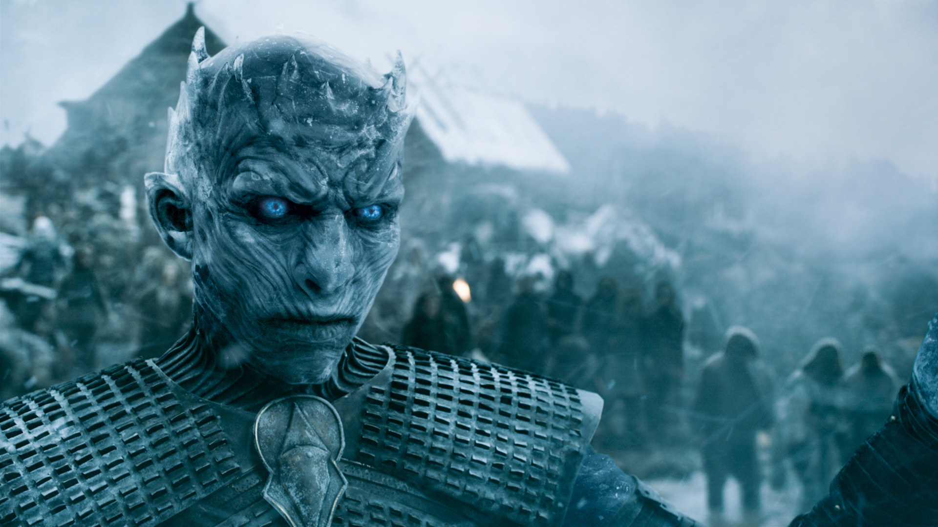 Still from Game of Thrones: close up of The Night King standing in front of hordes of wights at Hardhome