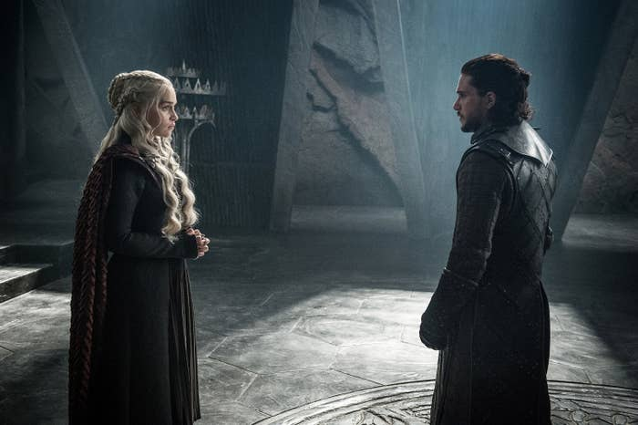Still from Game of Thrones: Jon Snow faces Daenerys in the throne room of Dragonstone,
