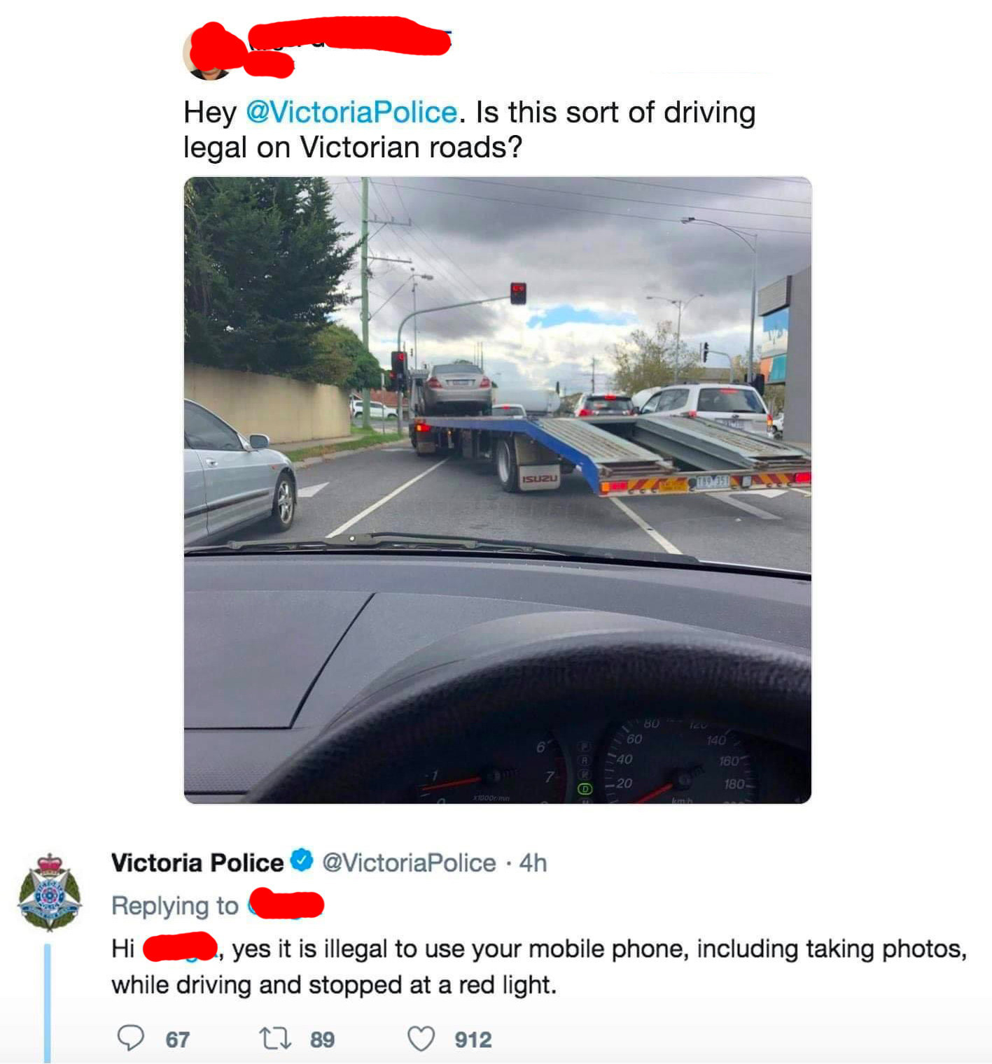 tweet of someone tweeting at the police about legal driving and they get called out on using their phone