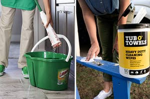 A model squeezing water out of a Wonder Mop and a model wiping dirt off an outdoor chair with a Tub O' Towels heavy-duty cleaning wipe