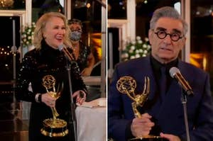 Catherine O'Hara and Eugene Levy with their 2020 Emmy Awards