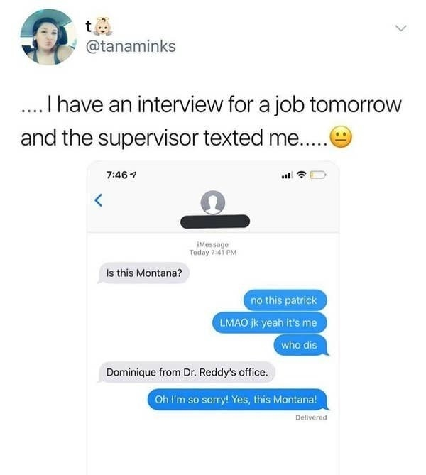 text message convo of someone getting a message out of the blue and saying no this is patrick but it turns out it's a job interview