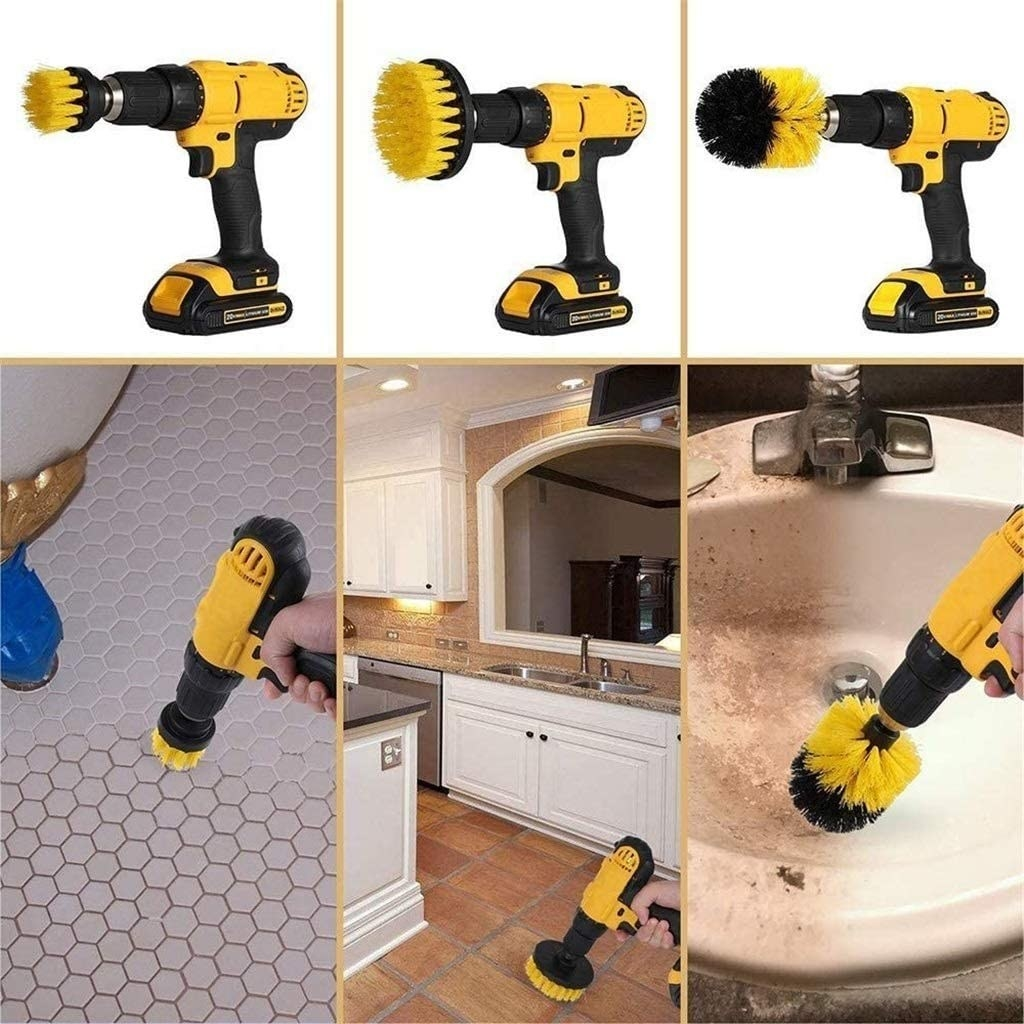 The scrub brush drill attachments cleaning the bathroom floor, kitchen floor, and bathroom sink