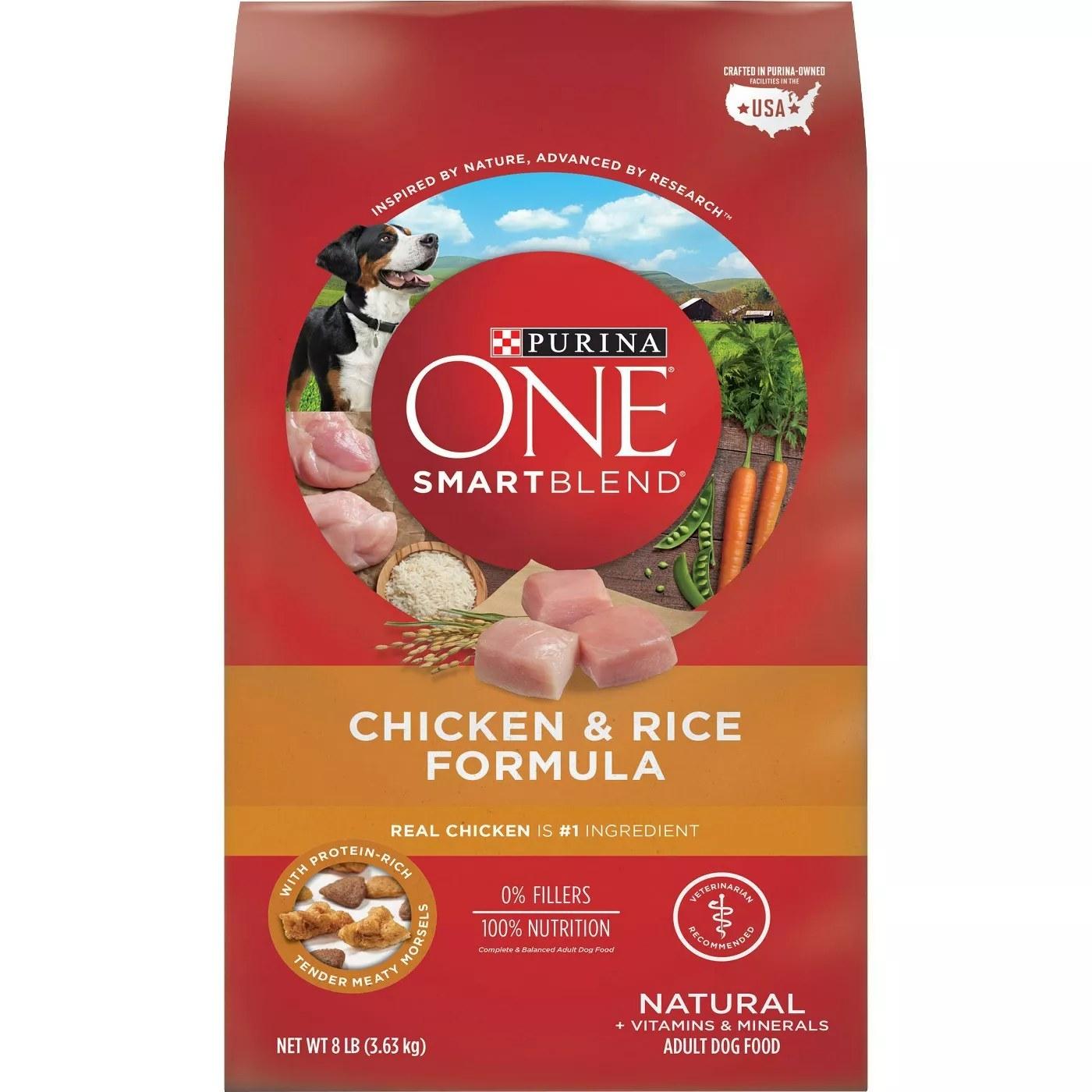 An 8-pound bag of Purina One Smart Blend Chicken & Rice Formula