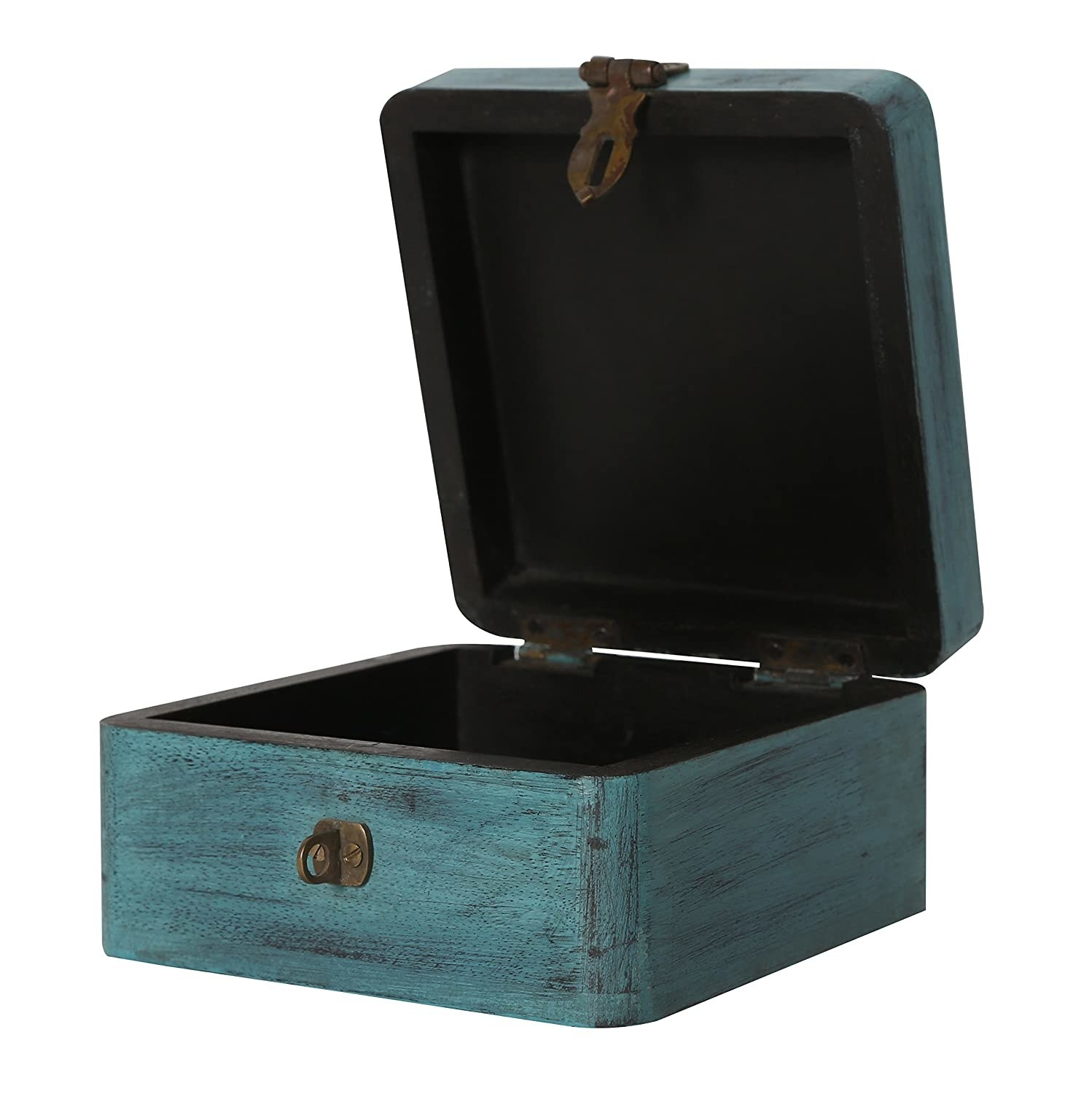 A blue hand-painted wooden box with a rustic finish,