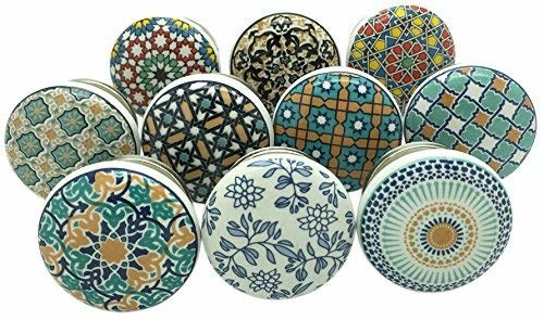 10 ceramic doorknobs with varying colourful designs.