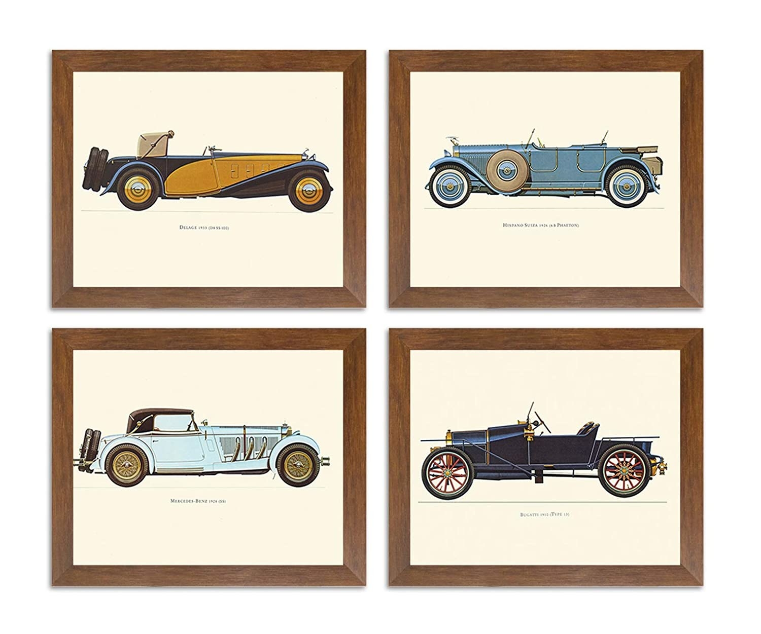 4 framed posters of vintage cars.