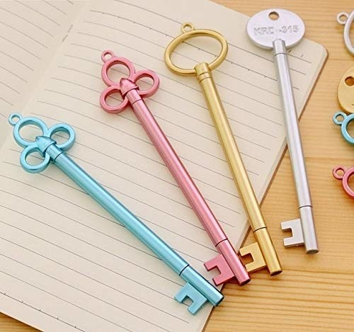 Key-shaped pens in blue, pink, gold, and silver.