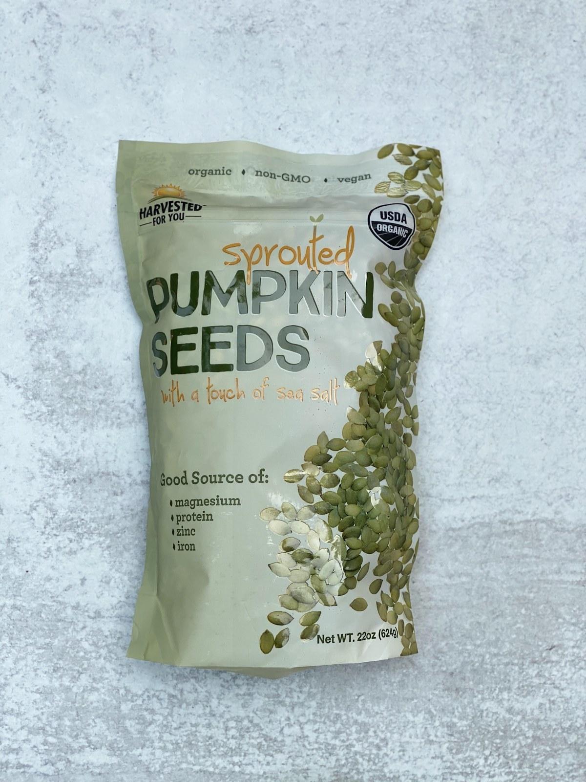 Bag of pumpkin seeds