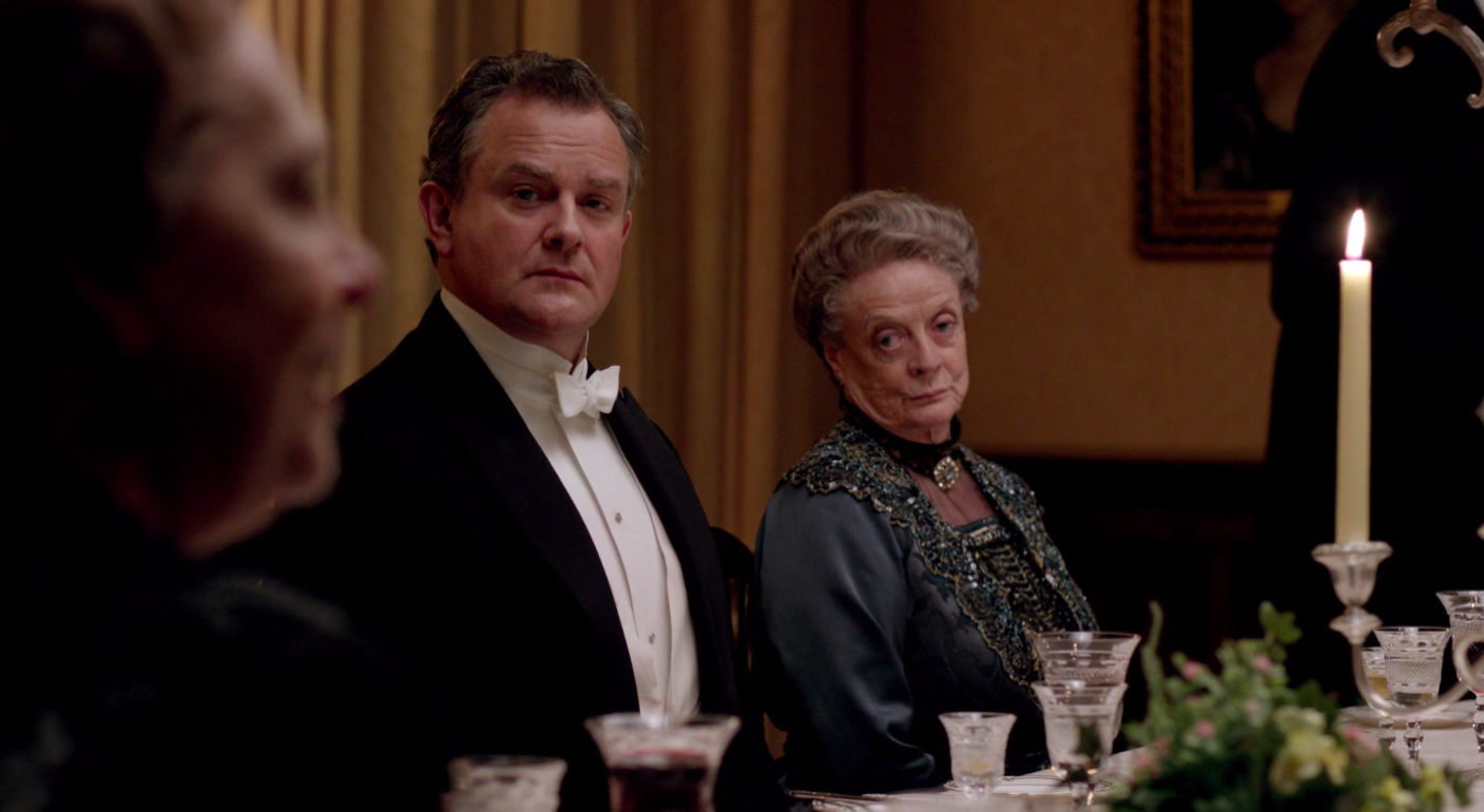 A still of Robert Crawley and Violet Crawley in Downton Abbey