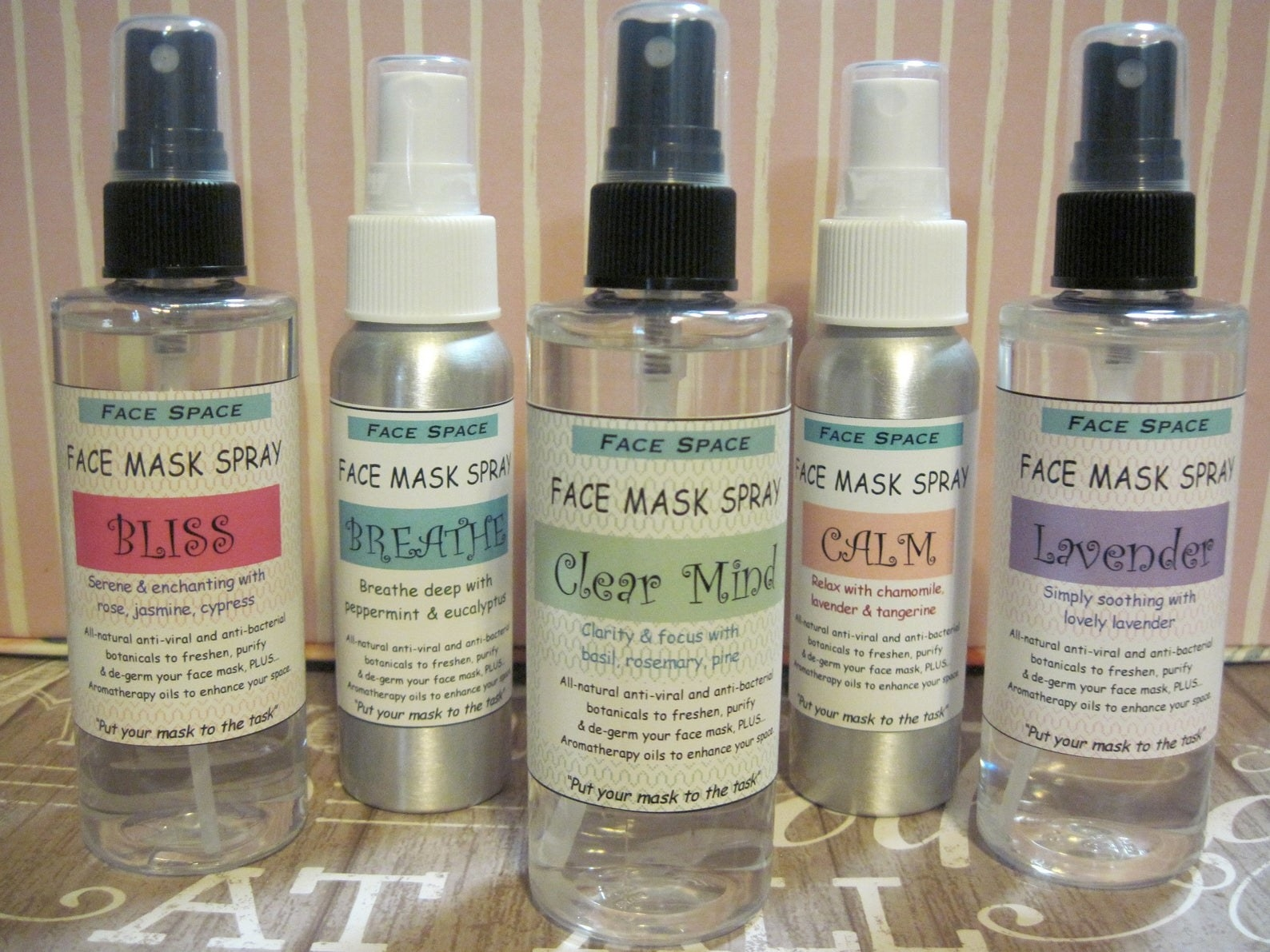 "face mask sprays in scents called ""bliss,"" ""breathe,"" ""clear mind,"" ""calm,"" and ""lavender"""