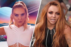"""On the left, Perrie in the """"Holiday"""" music video, and on the right, Jesy in the """"Power"""" music video"""