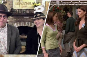 Amy and Dan with the Dragonfly Inn sign side by side with Rory and Lorelai in front of the inn