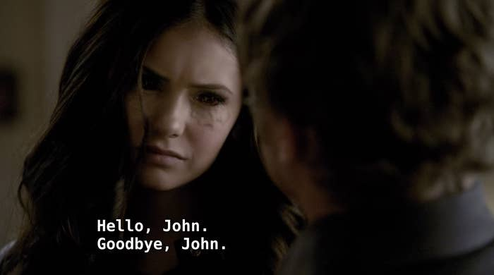 Katherine killing John in the middle of Elena's kitchen.