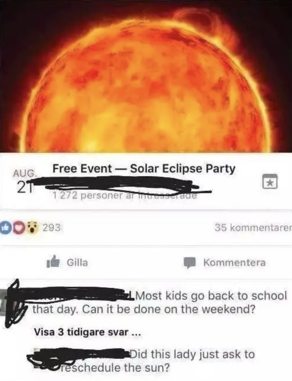 facebook event of an eclipse where one person asks if it can be rescheduled
