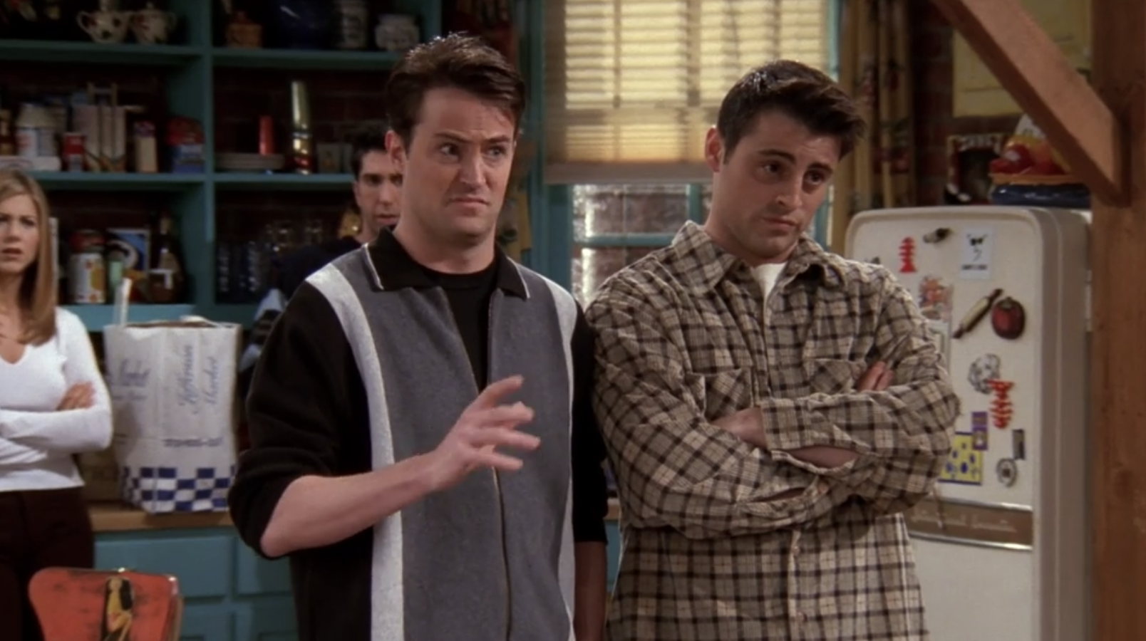 Chandler and Joey saying they know Rachel and Monica so well