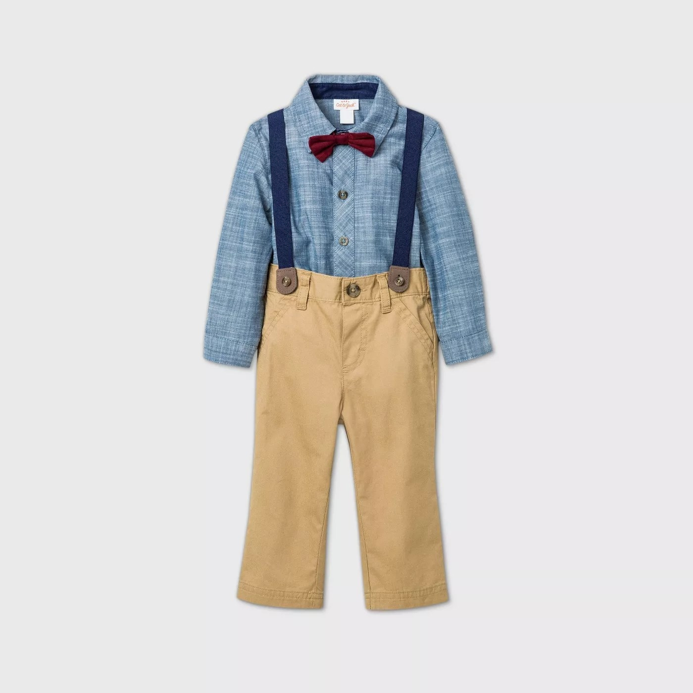 A long-sleeve, blue, buttondown bodysuit, a pair of chinos, a pair of suspenders, and a red bowtie