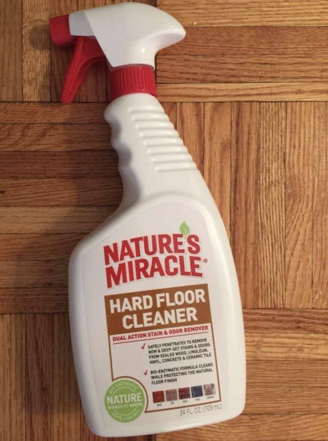 The hard floor cleaner on a hardwood floor