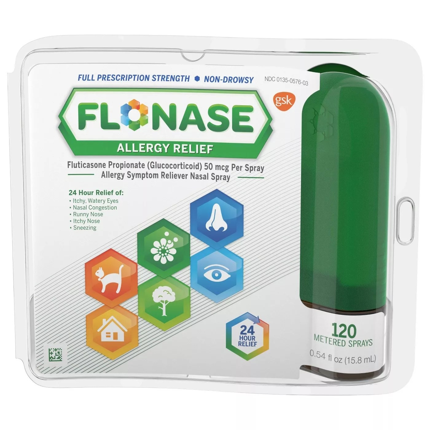 A bottle of 120 sprays of Flonase which offers 24 hours of allergy symptom relief