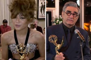 Zendaya and Eugene Levy with their Emmys
