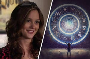 Blair is on the left smiling with a zodiac wheel on the right