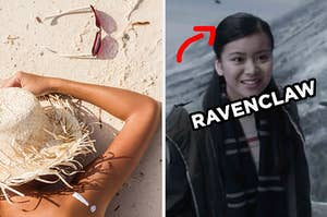 "On the left, someone lies face down on the sand with their sunglasses tossed to the side and a sunhat on their head, and on the right, Cho Chang, and an arrow pointing to her and ""Ravenclaw"" typed next to her face"