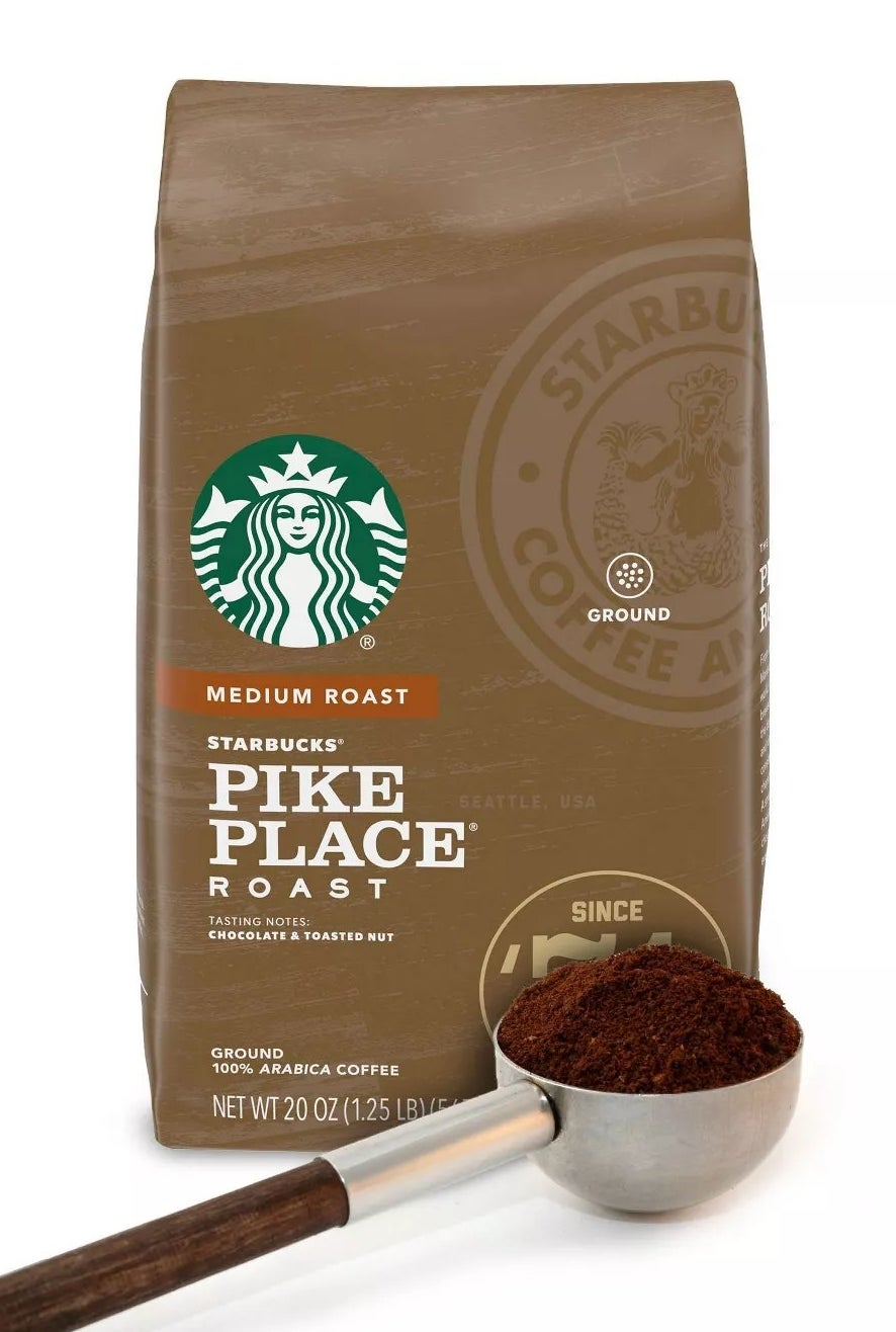 A bag of Starbucks Pike Place Roast, a medium roast with chocolate and toasted nut tasting notes that is 100% arabica coffee