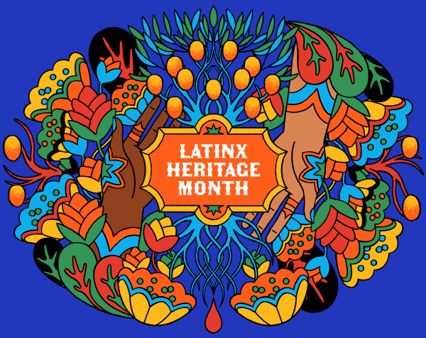 """A colorful collage of flowers with the phase """"Latinx Heritage Month"""" in the middle."""