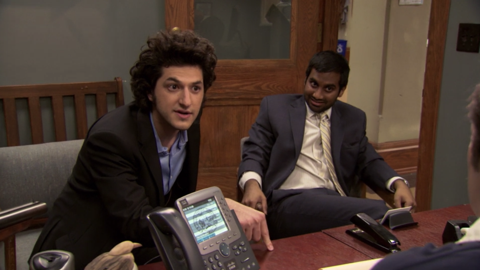 Jean-Ralphio leaning in while interviewing with Ron.