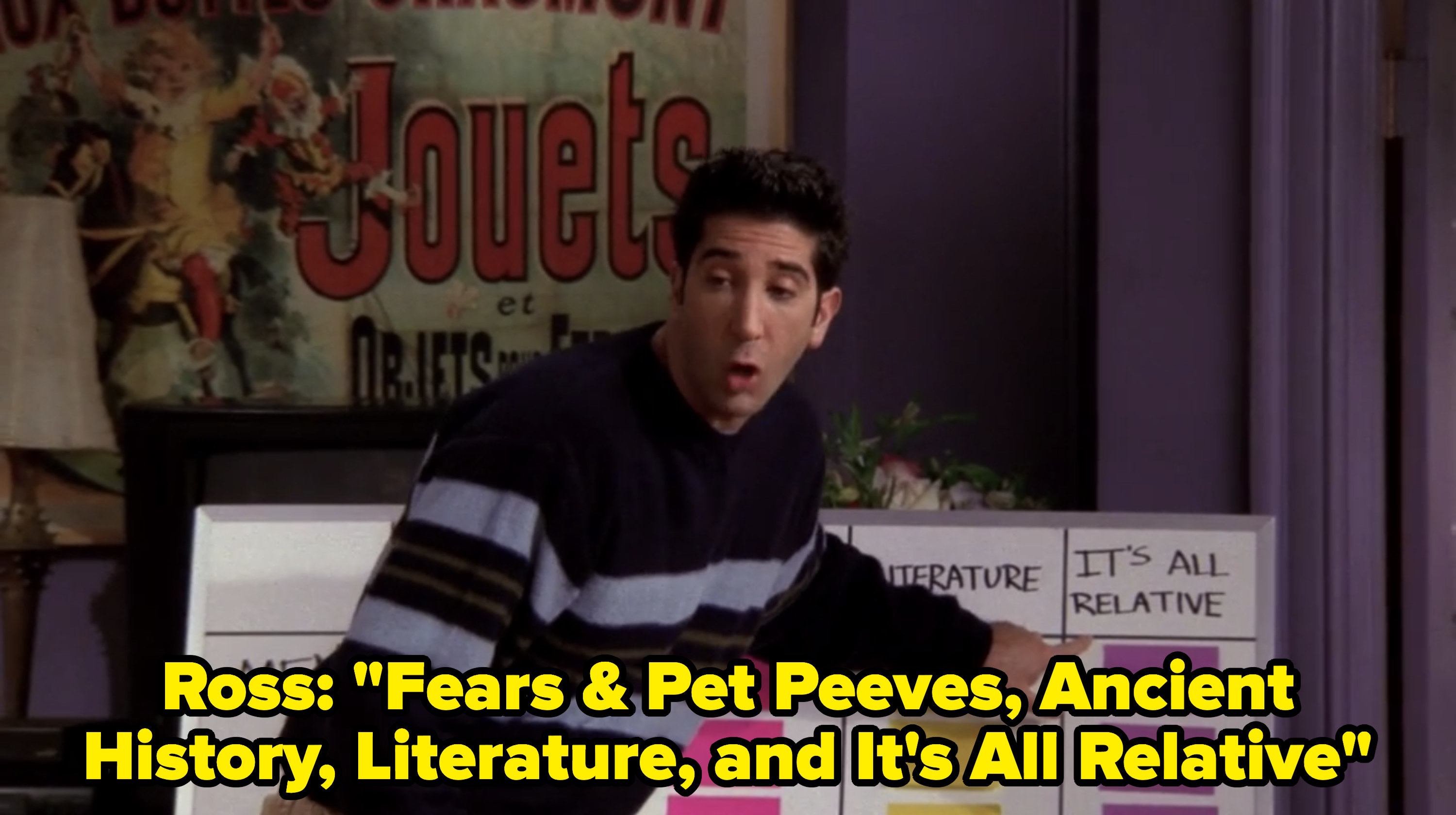 Ross reads the categories to the game