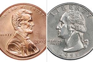 A US penny facing a US quater