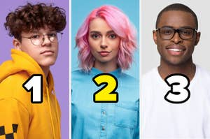 Three young hipsters each labelled with numbers one to three